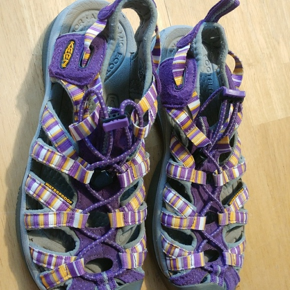 the best attitude cae22 1592d KEEN SHOES Whisper Outdoor Sandals Purple & Yellow
